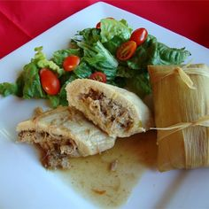"Real Homemade Tamales | ""The pork can be substituted with either chicken or beef. This is great served with refried beans and a salad."""