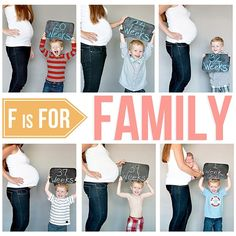 A good idea on how to include an older sibling in maternity monthly pictures