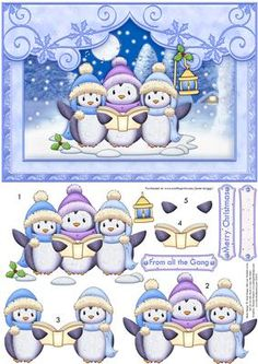 SINGING PENGUINS Christmas Card Topper Decoupage on Craftsuprint designed by Janet Briggs - Christmas card front and 3d step by step decoupage, for an A5 landscape card.Features cute carol singing penguins.Sentiment tags include one blank.