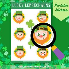 Lucky Leprechauns BuJo Stickers, Planner Stickers, St. Patrick's Day Stickers, Printable Stickers, Journaling Stickers, Scrapbook Stickers Planner Stickers, Scrapbook Stickers, Printable Stickers, Bujo, Pumpkin Printable, Purple Pumpkin, Digital Journal, Online Print Shop, Silhouette Machine