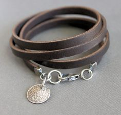 Brown Leather Wrap Bracelet Sterling Silver