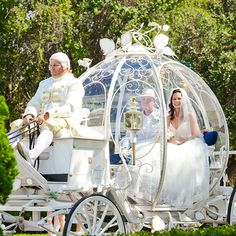 Arriving via Cinderella's Coach is quintessential for any fairy tale wedding #Disney