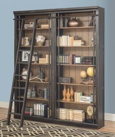 Toulouse Oversized Bookcase Set with Rolling Ladder