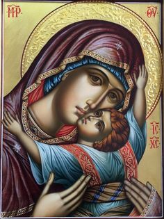 High quality hand-painted Orthodox icon of Panagia Kardiotissa (halo relief). BlessedMart offers Religious icons in old Byzantine, Greek, Russian and Catholic style. Spiritual Paintings, Religious Paintings, Byzantine Icons, Byzantine Art, Religious Icons, Religious Art, Orthodox Catholic, Russian Orthodox, Roman Catholic
