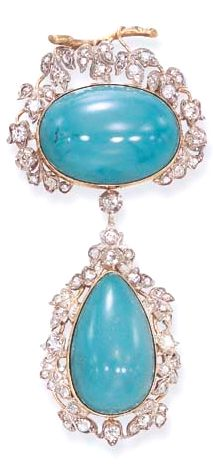 A SET OF ANTIQUE DIAMOND AND TURQUOISE JEWELRY  Comprising a brooch, designed as a textured gold branch, extending rose, single and old European-cut diamond leaves, centering upon a cabochon turquoise, suspending a similarly-set pear-shaped cabochon turquoise pendant; and a pair of ear clips en suite, mounted in silver and gold, circa 1880