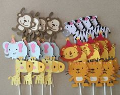24 selva Safari tema Cupcake Toppers por TheresasPaperCrafts Back to School Crafts Jungle Theme Cupcakes, Jungle Theme Birthday, 1st Birthday Parties, Boy Baby Shower Themes, Baby Shower Printables, Baby Shower Parties, Baby Boy Shower, Shower Party, Safari Party