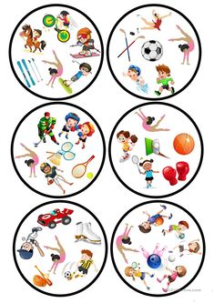 Sports Dobble game worksheet - Free ESL printable worksheets made by teachers Education English, Teaching English, Teaching French, Printable Worksheets, Printables, Teaching Nouns, Double Game, English Activities, Sports Games