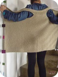 Gilet-rectangle au tricot