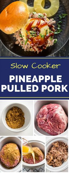 This Slow Cooker Pineapple Pulled Pork recipe is perfect for any summer BBQ! Piled high with barbecue sauce an a slice of pineapple, it makes great tacos or even sliders! Utilize your crockpot to make cooking easy this summer. #pineapplepulledpork #slowcookerrecipes #easycrockpotrecipes #gogogogourmet