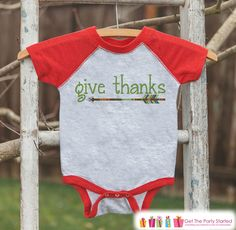 Kids Give Thanks Shirt - Green Arrow Thanksgiving Outfit - Boy or Girl Thanksgiving Shirt - Red Raglan Tshirt or Onepiece - Boho, Indian