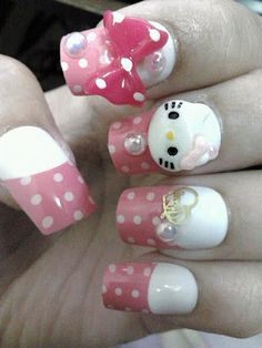 23 Diseños de Uñas en 3D de Hello Kitty - ε Diseños e Ideas originales para Decorar tus Uñas з