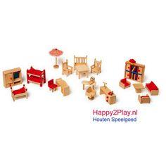 Uitgebreide set houten poppenhuis meubeltjes