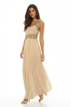 AX Paris Womens Champagne Embellished Chiffon Maxi Dress Cocktail Party Fashion