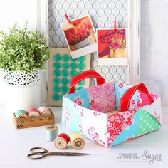I think I have saved my favorite patchwork project in this Colorful  Patchwork Bags & Basketsblog hop for last... Lisa Cox's Flower Sugar  Basket.
