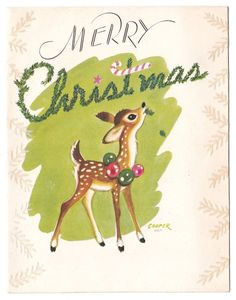 UNUSED Vintage Greeting Card Christmas Deer Bambi Artist Signed Marjorie Cooper
