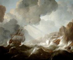 French Man of War ~ Philip van Macheren (Dutch), 1685... A very dramatic scene of a French Man o' War foundering off a rocky coast... [van Macheren's] work is rare and not restricted to marine paintings