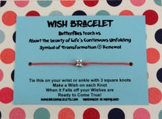 Butterfly Wish Bracelet on Coral waxed cord.