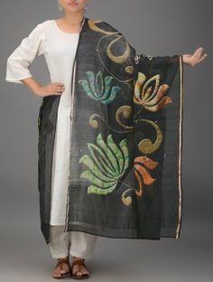 Black-Green Block-printed Chanderi Dupatta with Zari Border