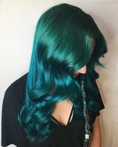 Emerald green into teal colour melt for this lovely mermaid #pravana was used to create this gorgeous colour! #hairbyshaytopaze