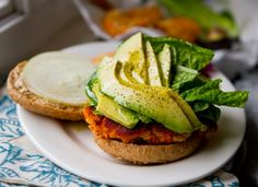 Sweet potato and avocado veggie burger