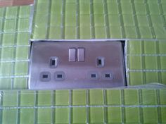 1.)  Exciting (for me), picking sockets for the kitchen...brushed steel...