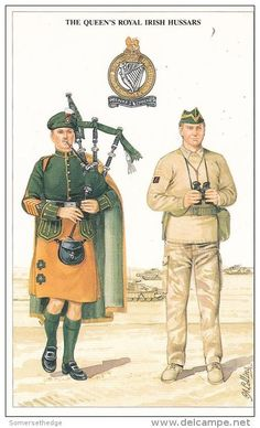 FYI: Please Postcard British Army Series The Queen's Royal Irish Hussars Geoff White Vintage Military Uniforms, Military Cards, British Army Uniform, British Uniforms, Irish Warrior, British Armed Forces, Men In Kilts, Royal Marines, Military History