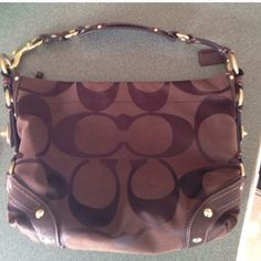 Coach hobo bag Chocolate brown, leather trim. Authentic, in good condition Coach Bags Hobos