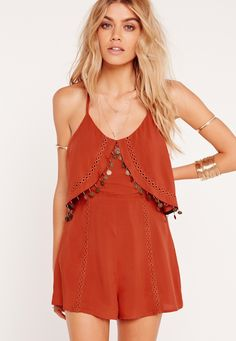 Missguided - Crepe Coin Trim Detail Playsuit Rust