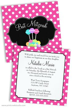 Pink Polka Dot Candy Themed Bat Mitzvah Invitations. Matching products available. Save on orders of 25 invitations or more!