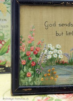 Vintage Home Shop - Beautiful 1920s Cottage Garden Embroidery: www.vintage-home.co.uk