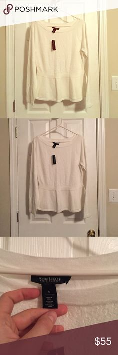 Shimmering White Peplum Sweater Boat neck. Fit and flare waist. Long sleeves. Very soft. Shimmery. Size medium. White House black market brand. New with tags. Never worn. White House Black Market Sweaters