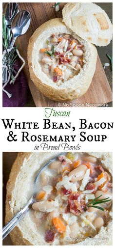 Tuscan White Bean, Bacon & Rosemary Soup in Bread Bowls