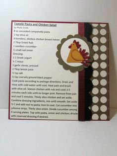 Chicken recipe card