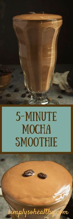 This Low-Carb 5 Minute Mocha Smoothie whips up in a flash and boasts healthy fats from two sources. It makes a perfect breakfast or snack for those on low-carb, LC/HF, ketogenic, diabetic, Atkins, or Banting diets.