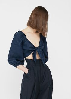Bow linen blouse -  Woman | MANGO United Kingdom