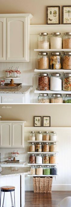 Use space above 80can cabinet for slim shelves housing all pasta bottles, add brown paper tags with cooking times & maybe pasta types