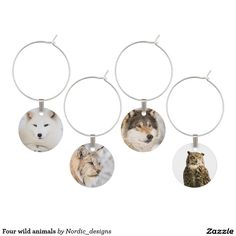 Four wild animals wine glass charm
