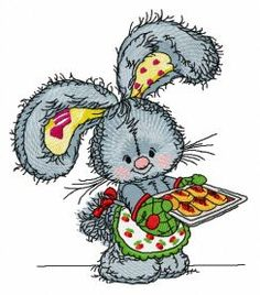 Bunny baking cookies 2 machine embroidery design. Machine embroidery design. www.embroideres.com