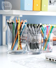 Desk supplies management - use $1 store glasses. Maybe chalkboard labels instead of writing on them with sharpie?