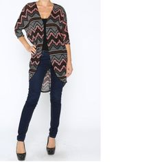 Long zigzag cardigan with elbow length sleeves and open front