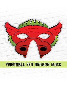 Red Dragon Printable Mask | Fantasy Dragon Mask #printable #kidschildrens #partymask #costume #chinesenewyear #animalmask #fantasymask #dragonmask #pretendcostume #cosplay #halloweenmask #reddragon #smaugmask Printable Halloween Masks, Printable Masks, Templates Printable Free, Printables, Animal Themed Birthday Party, Dragon Mask, Paper Mask, Green Dragon, Animal Masks