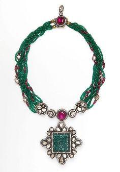 Amrapali multi-strand Zambian emerald, diamond and ruby necklace with large diamond and carved Zambian emerald pendant