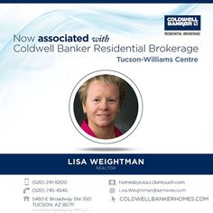 Please help us welcome Lisa Weightman to Coldwell Banker Residential Brokerage! Feel free to stop by the Tucson-Williams Centre office or call 520-241-8200 to say hello to Lisa. #ColdwellBankerArizona