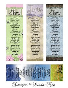 Names of JESUS CHRISTian BOOKMARKS Digital Collage Sheet Jesus Truth christ cross flower faith believe truth bible books
