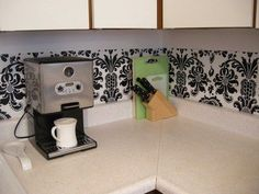 Dollar store kitchen make-over. Super adorable and so easy to remove upon moving.  I may do this in my rental!