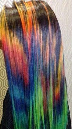 Rainbow dyed hair color @mermaidians