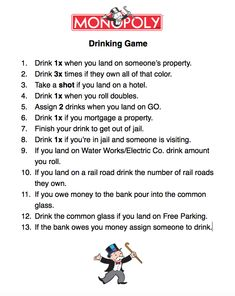 Monopoly Drinking Game!
