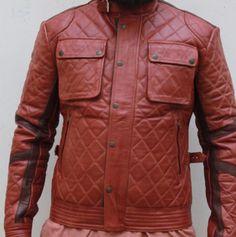 Mens Brown Vintage Antique Cafe Racer MC motorbike Leather jacket