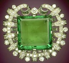 """The """"Hooker Emerald Brooch"""" gets its name from the one time owner of the famous piece of jewelry Janet Annenberg Hooker,"""