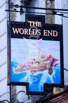 The Worlds End Pub sign, London. (The Worlds End Pub sign, Camden